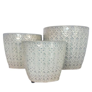 grey ceramic plant pots - set of 3