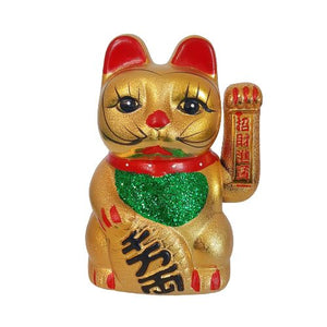 metallic gold good luck cat
