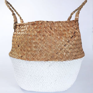 natural and white woven belly basket