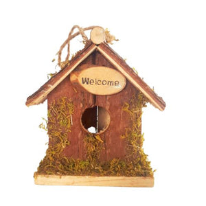 natural wooden bird house