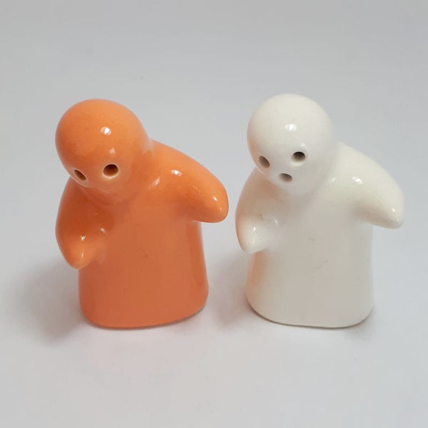 orange and white people - mini salt and pepper shakers