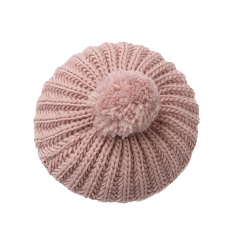 pink knitted beret
