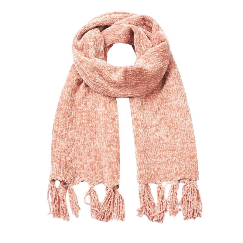 light pink chenille winter scarf