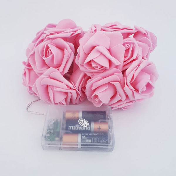 pink rose fairy lights - battery