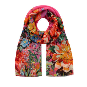 hot pink Spanish floral scarf