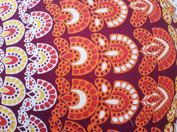 orange mandala round continental pillowcase