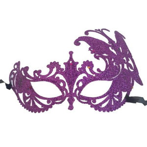 purple glitter fancy dress mask
