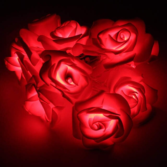 red rose fairy lights - battery