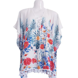 red and white floral kaftan top