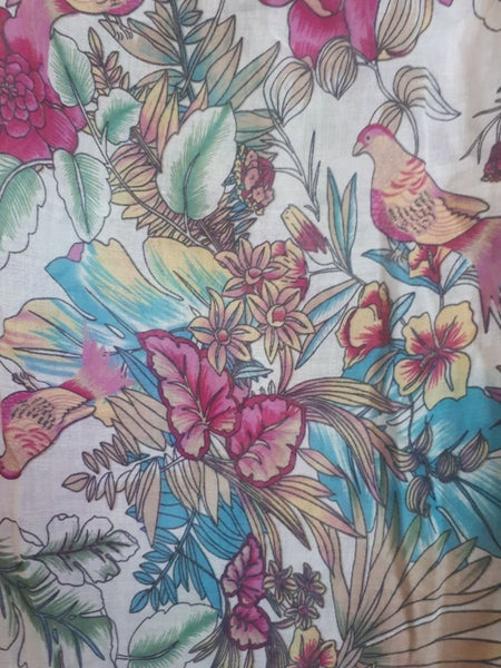 pink tropical floral scarf