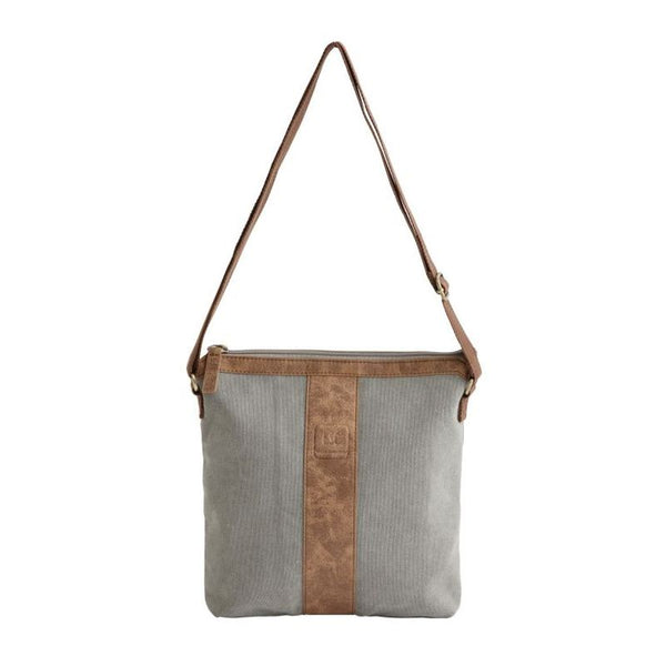 small grey sling bag