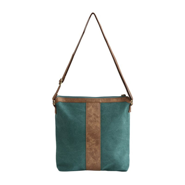 small teal sling bag