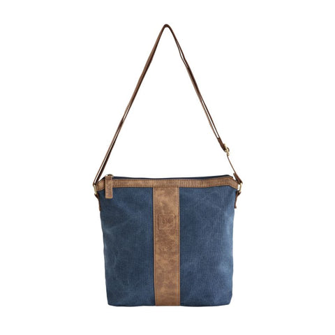 small dark blue sling bag
