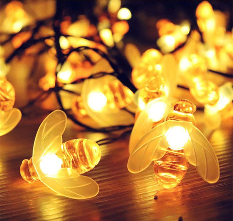 solar honey bee fairy lights