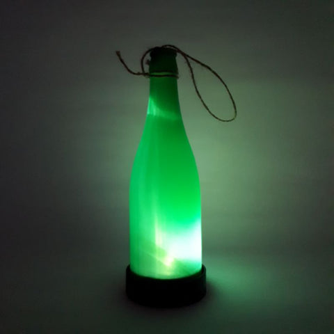green solar bottle light