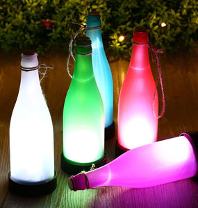 set of 5 colourful solar bottles