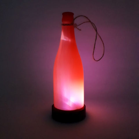 red solar bottle light