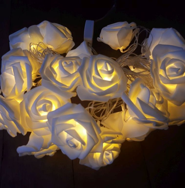 white rose fairy lights plug in