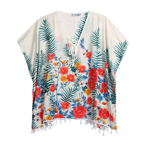 white floral kaftan top