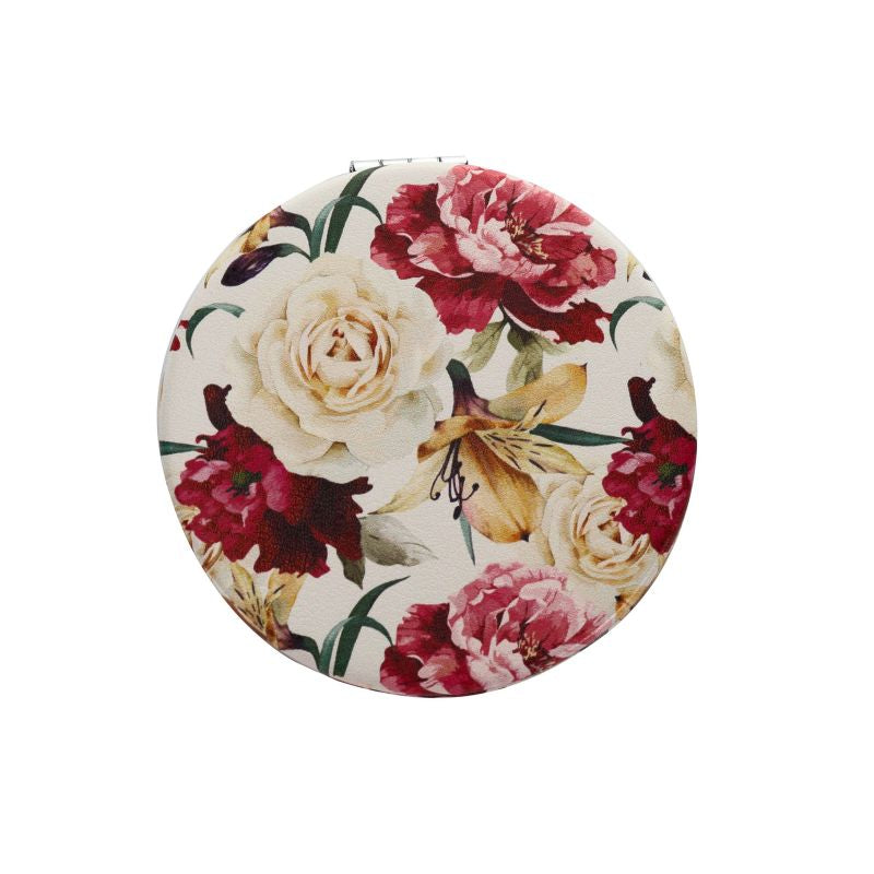 white floral compact mirror