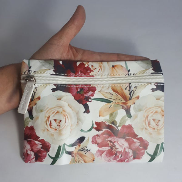 white floral zip purse