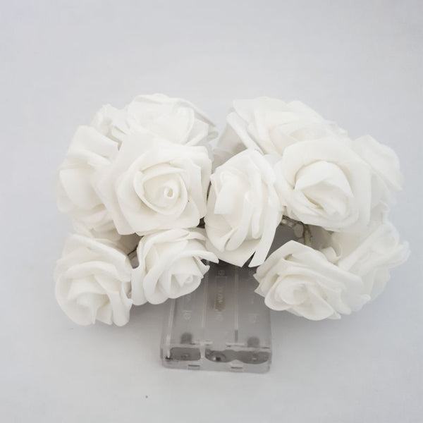 white rose fairy lights - battery