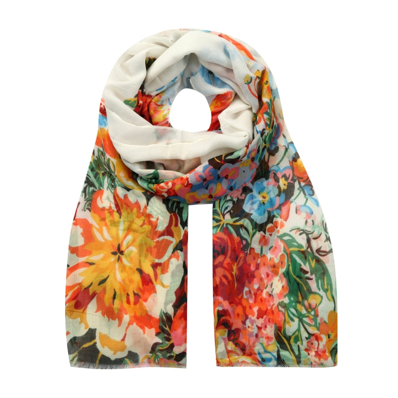 white Spanish floral scarf