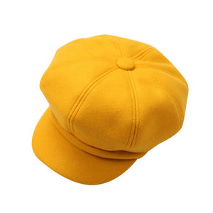 mustard yellow baker boy peak hat