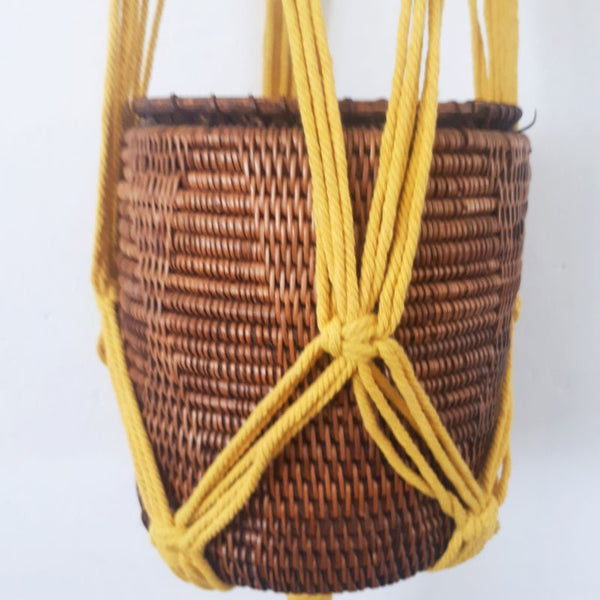 yellow macrame rope pot plant hanger
