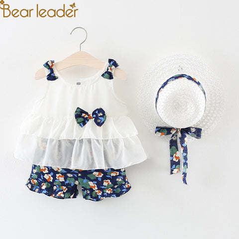 91eebbca19f Bear Leader Girls Clothing Sets 2018 Summer New Girl White Bow Vest Top +  Floral Chiffon