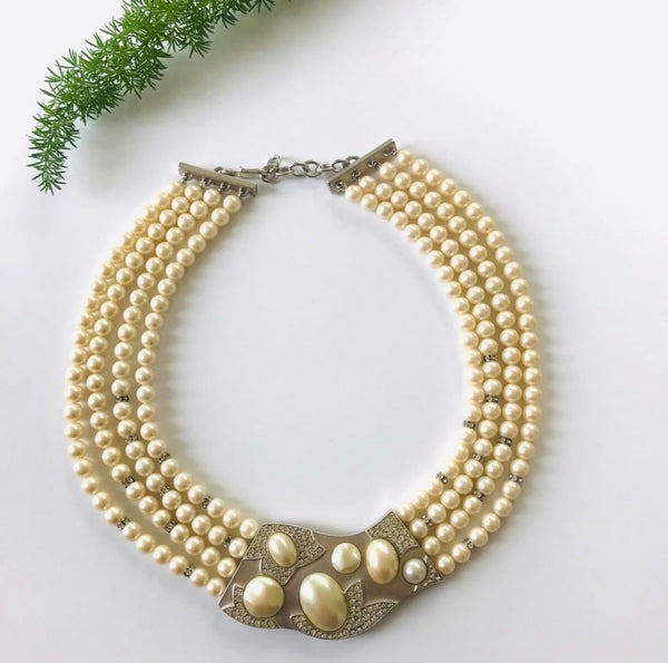 1980s Multi Strand Pearl Monet Necklace for sale from Bloomers and Frocks
