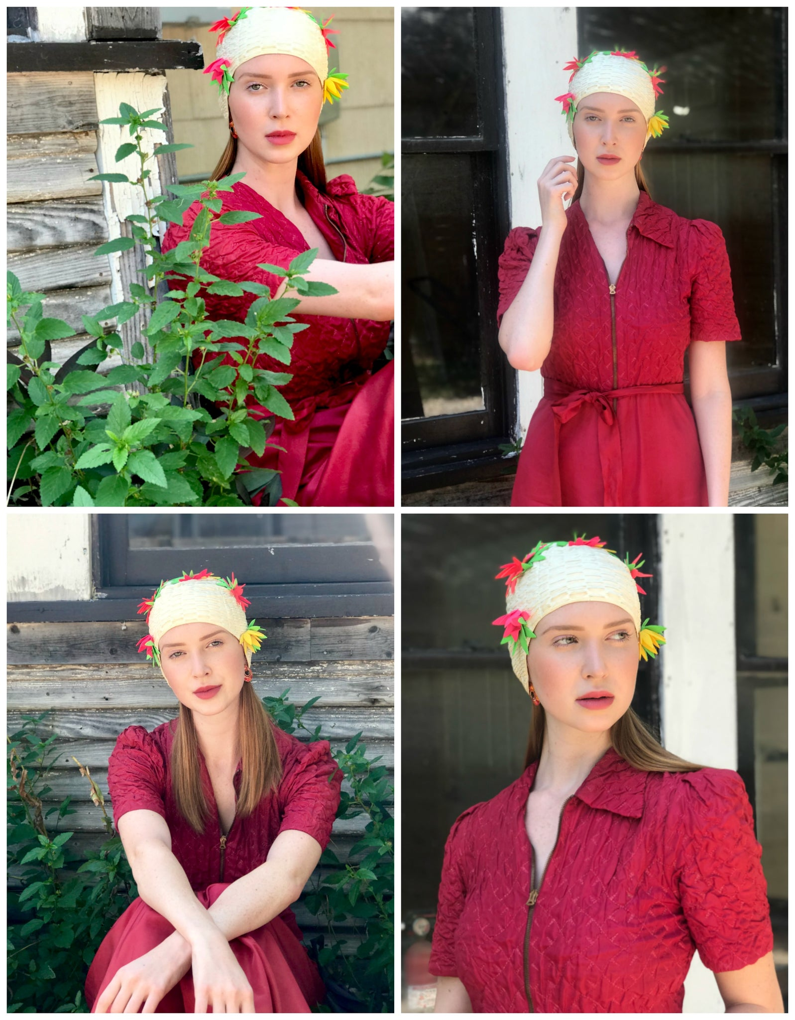 1930s raspberry pink dressing gown and 1960s vintage swim cap