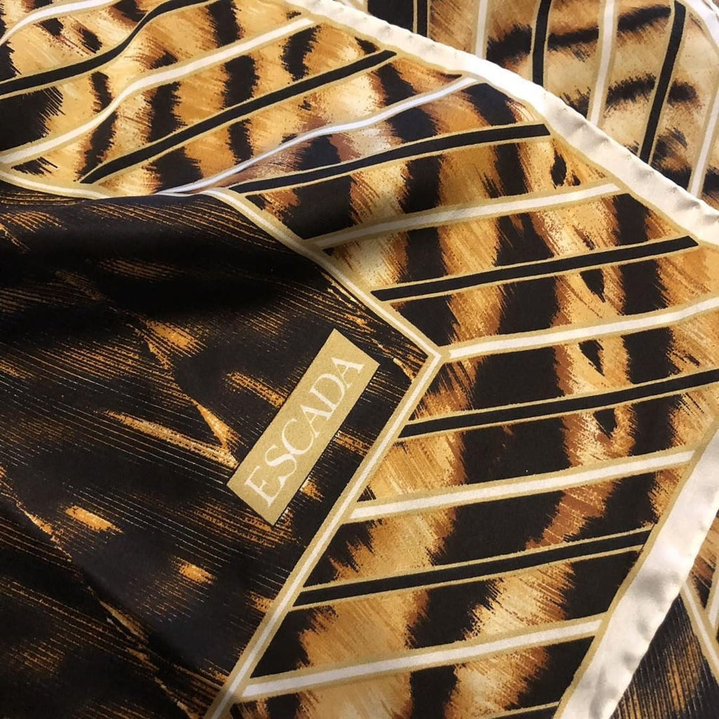 DESIGNER Escada Animal Print Silk Scarf