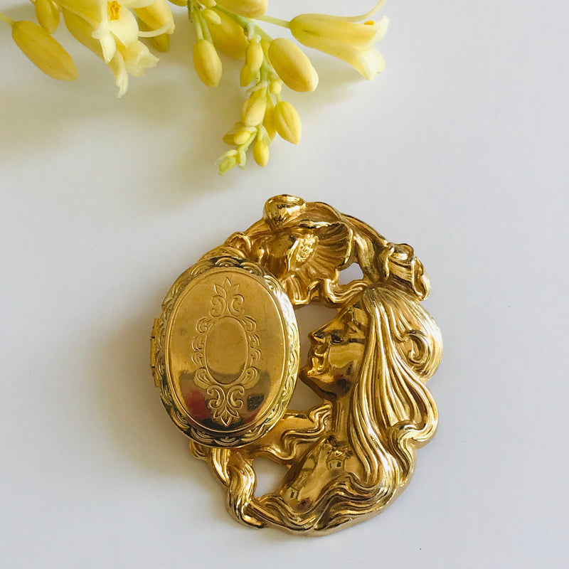 Vintage Art Nouveau Cameo Locket Brooch