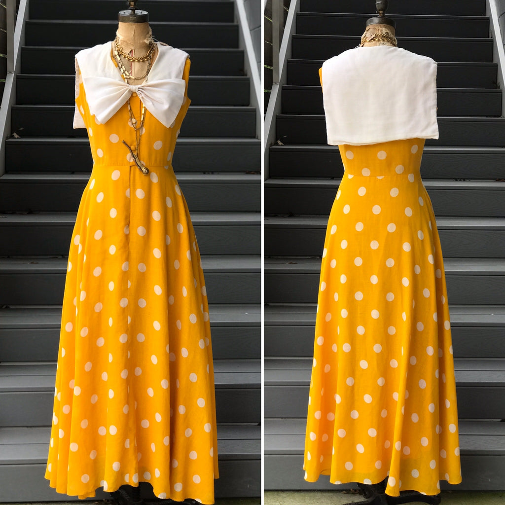 CoCo California Yellow and White Polka Dot Maxi Dress