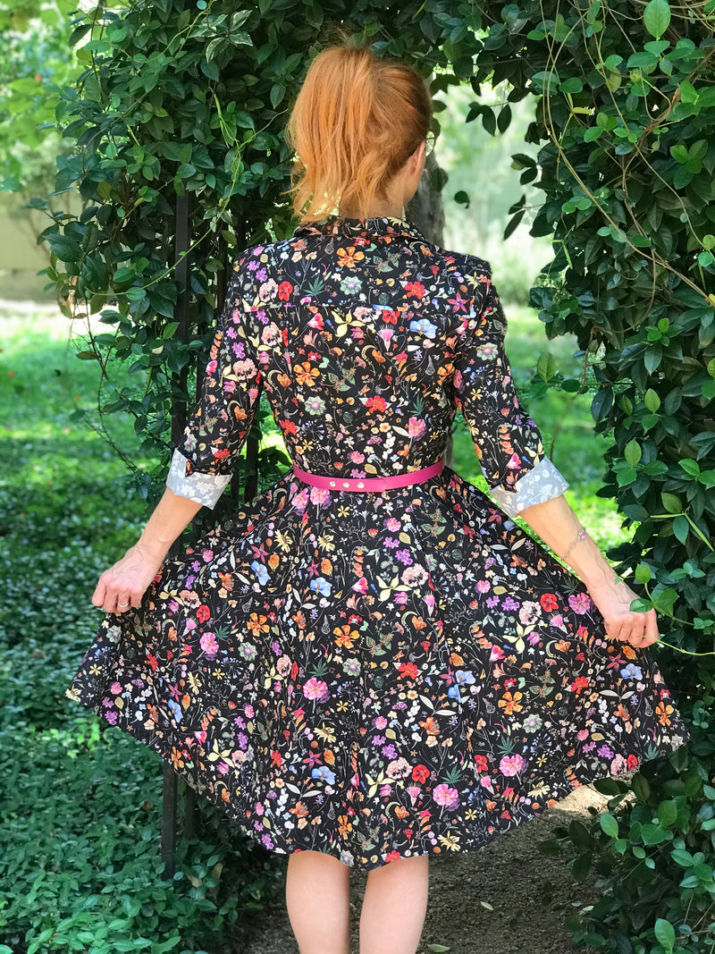 1950s Style Black Botanical Print Fit and Flare Dress