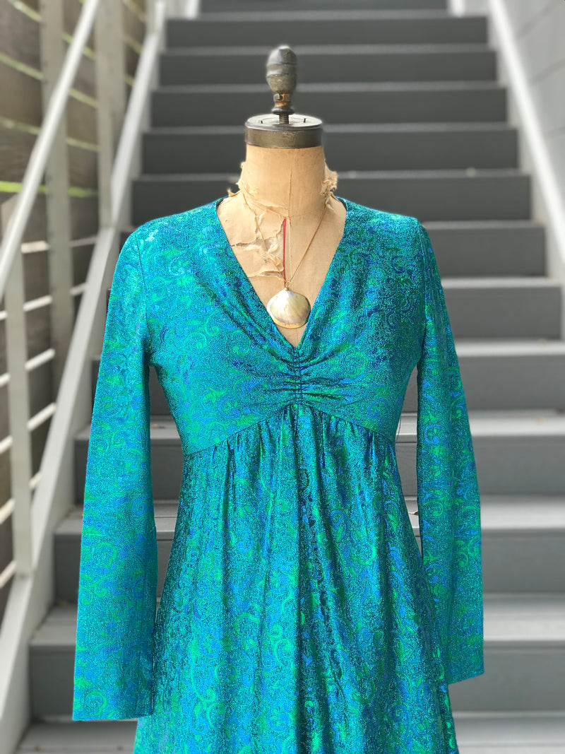 RESERVED 1970s Teal Sparkled Mermaid Gown