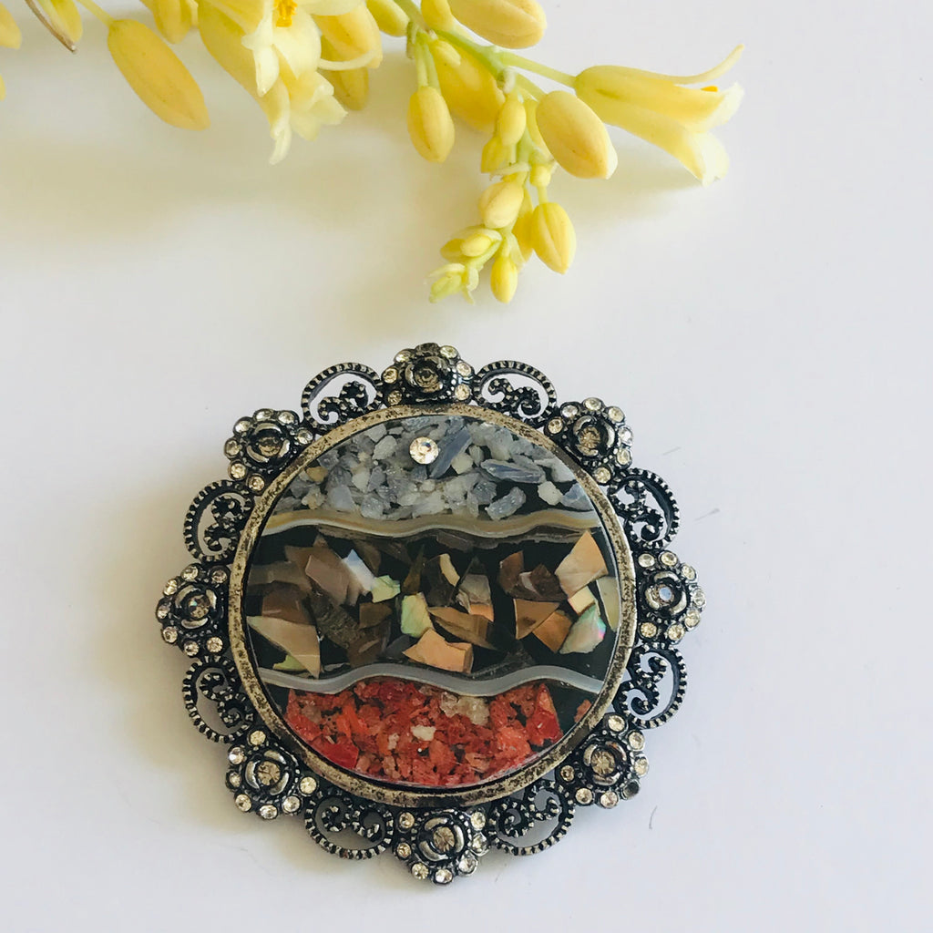 Crushed Natural Gems Circle Brooch + Pendant