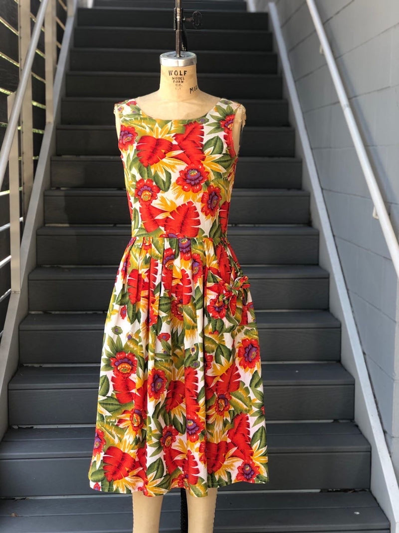 1990s Tropical Floral Button Back Dress