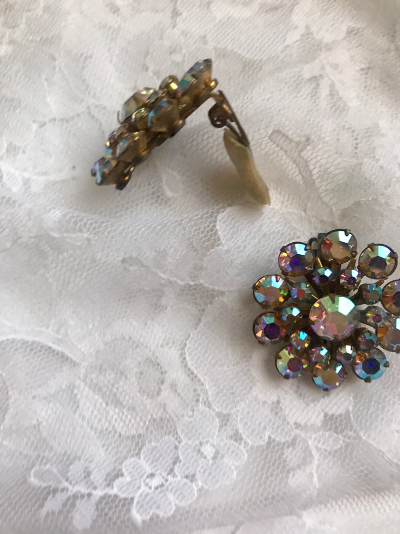 Vintage AB Floweret Clip On Earrings