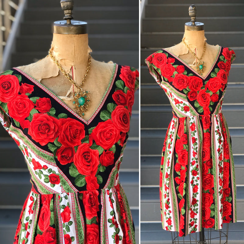 50s Style Holiday Rose Striped Dress