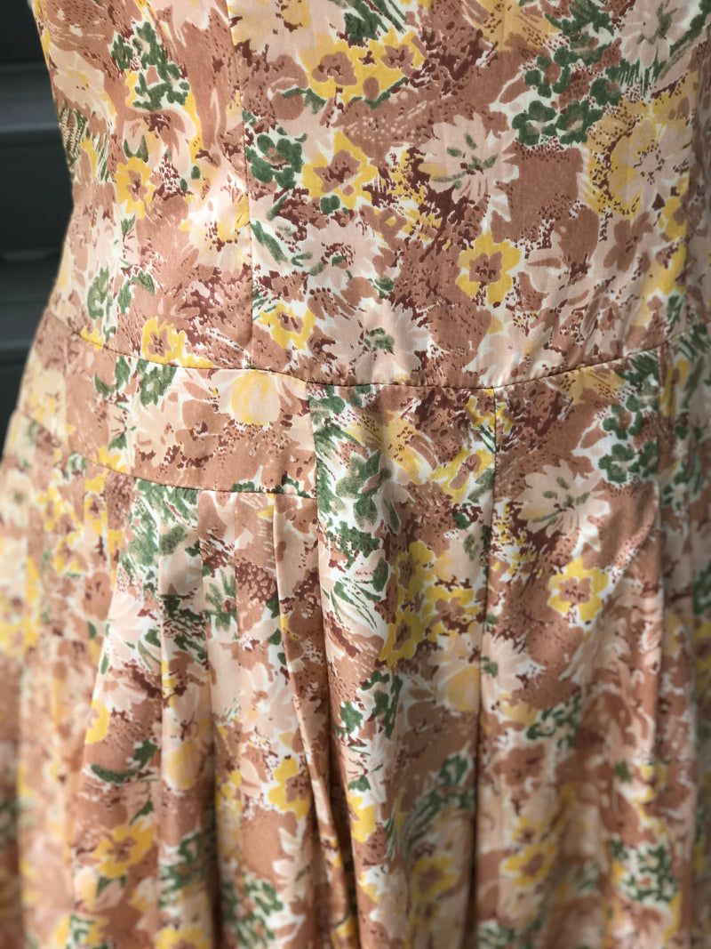 1950s Indian Mallow Floral Satin Dress