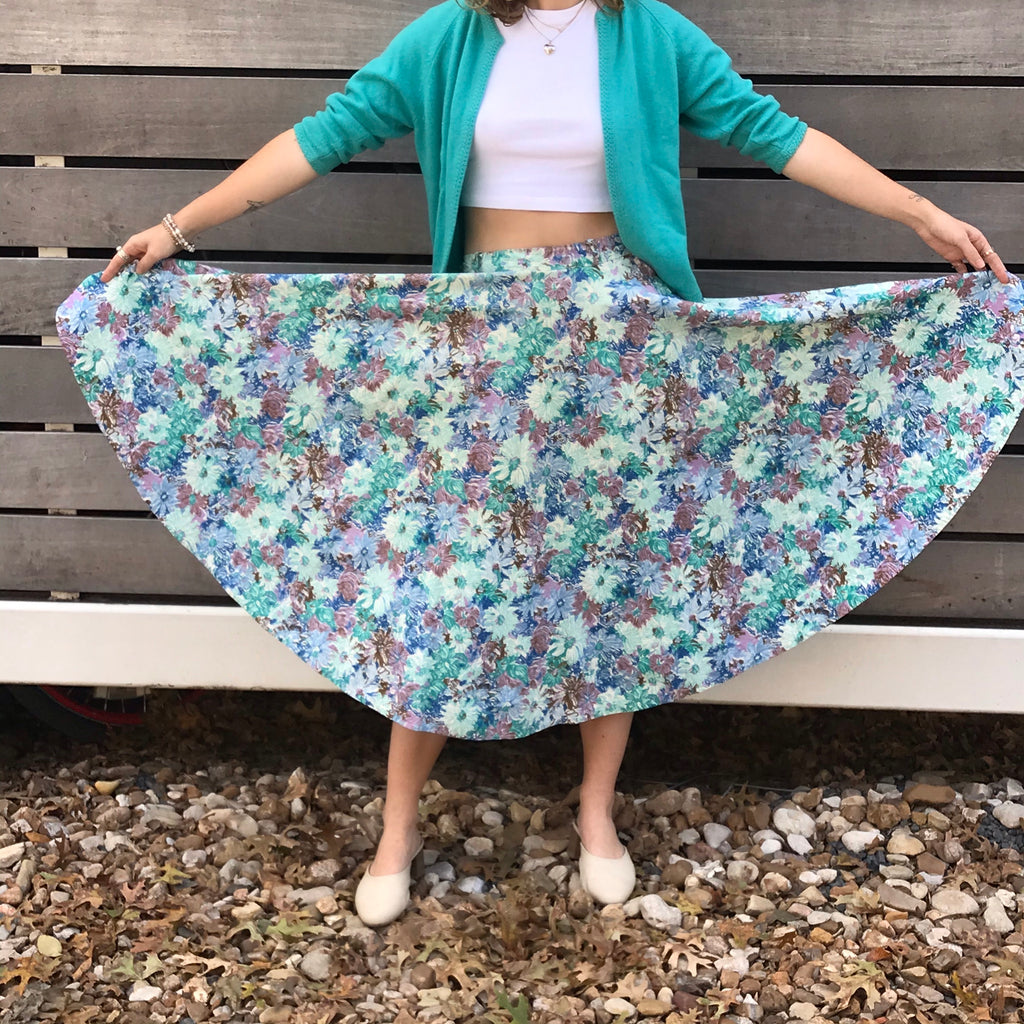 1950s Blue and Purple Floral Circle Skirt