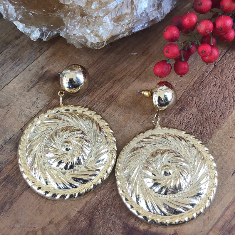 Gold Tone Statement Earrings