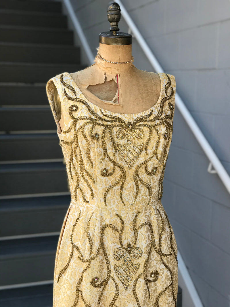 "1960s ""Bernetti"" Bronze Beaded Ribbon Vine Gown"