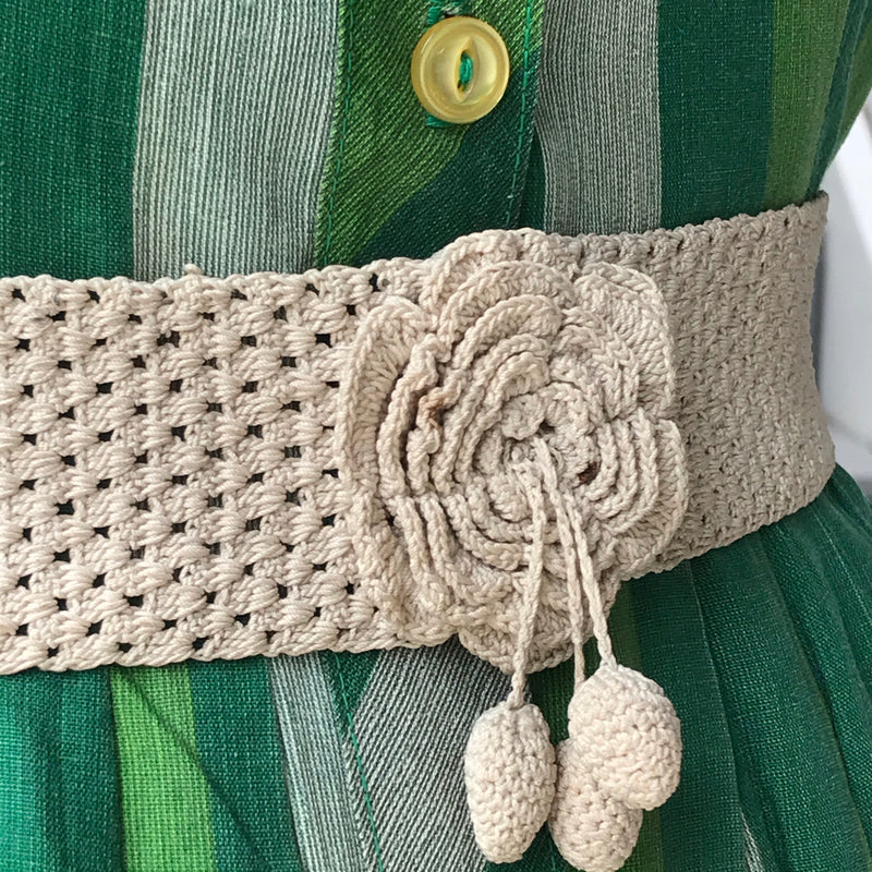 1930s Cream Crochet Belt with Flower Buckle