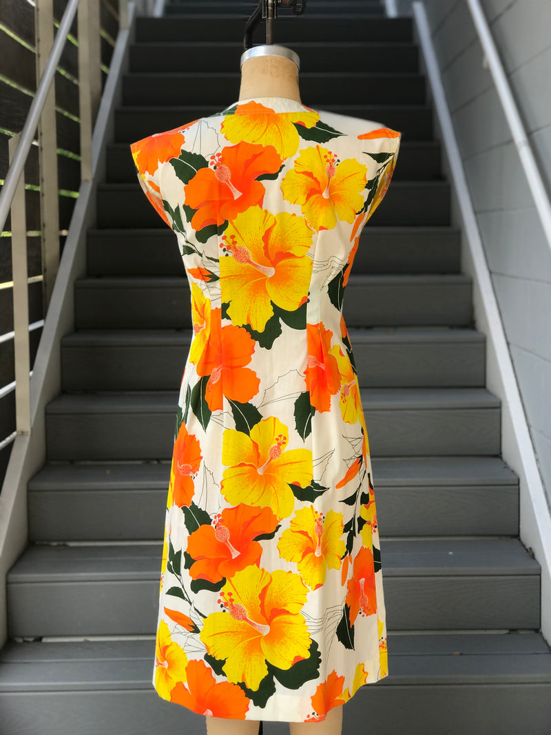 Alfred Shaheen Sunny Hibiscus Print Dress