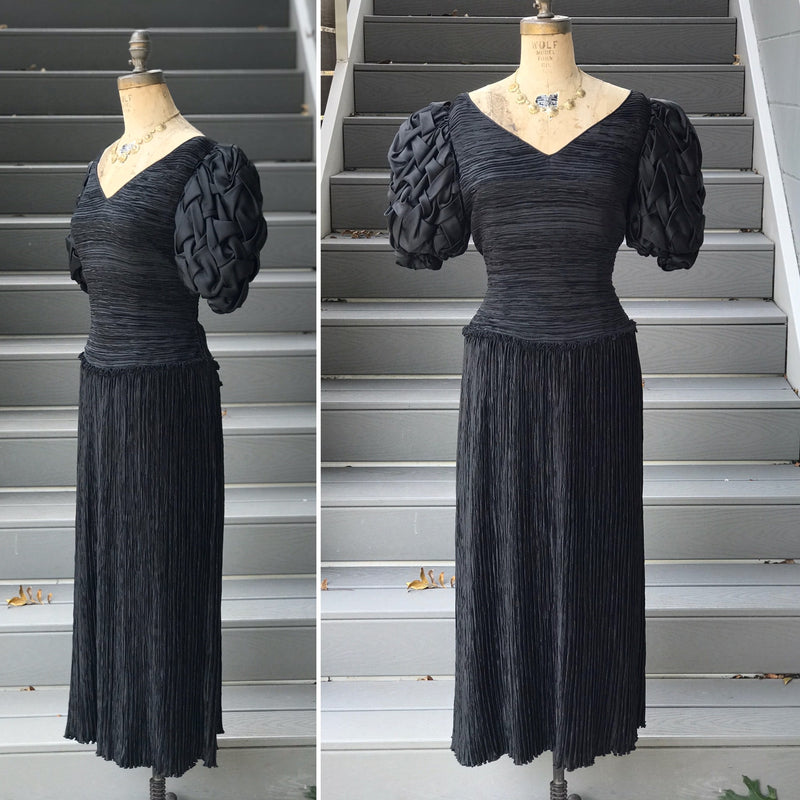 *DESIGNER* 1980s Mary McFadden Basket Sleeve Dress