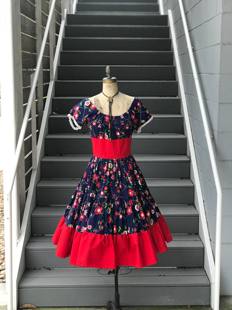 1970s Fun Floral Square Dance Dress