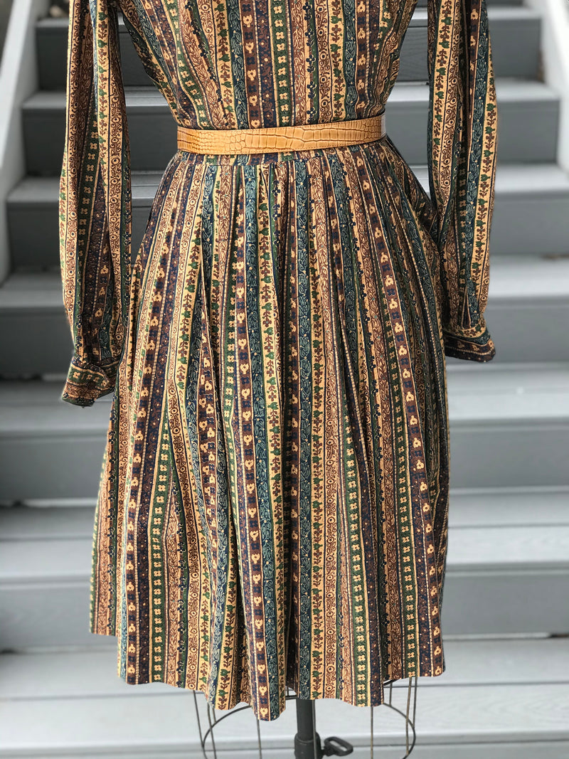 "1950s ""Judie Klein"" Gaia Striped Day Dress"